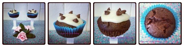 Chocolate Chip Cupcakes with a smooth Vanilla Bananalicious Topping