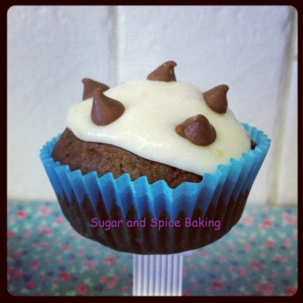 Chocolate Chip Cupcakes with a smooth Vanilla Bananalicious Topping